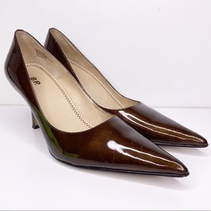 BP olive green patent leather pointed pumps